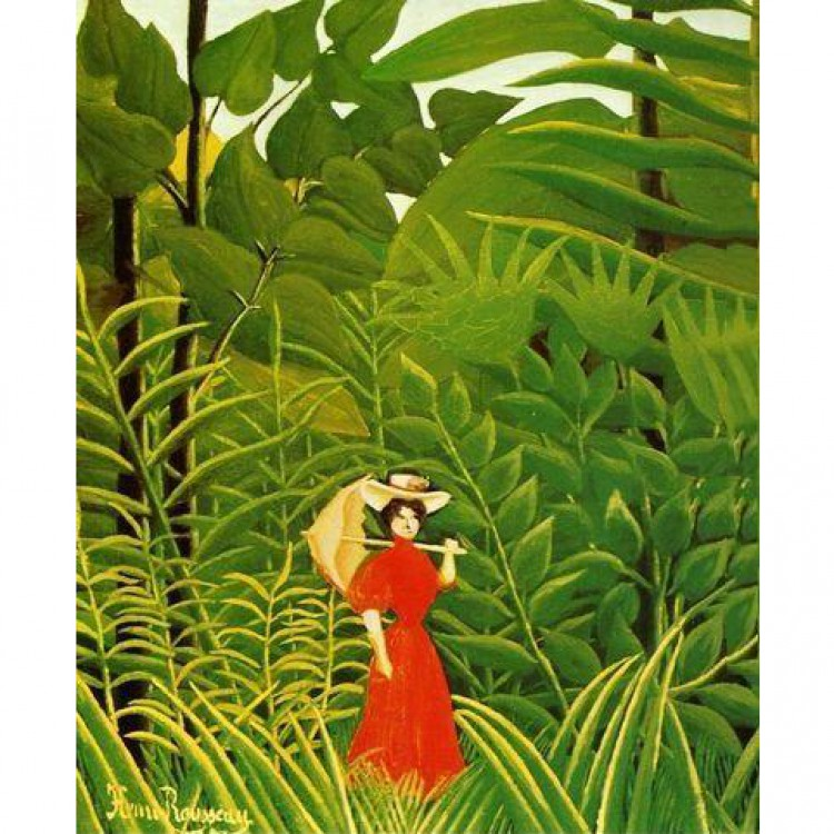 Schilderij Woman With An Umbrella In An Exotic Forest foto 1
