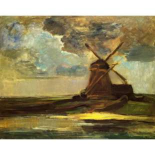 Olieverf schilderij Windmill in the Gein foto 1