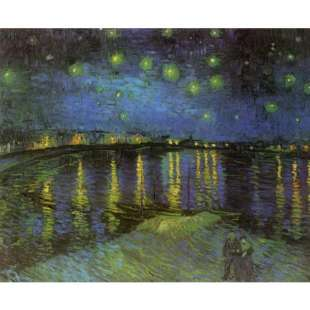 Schilderij Van Gogh Starry night over the Rhone foto 1