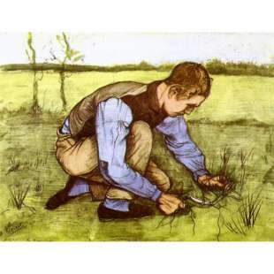 Schilderij Boy Cutting Grass foto 1