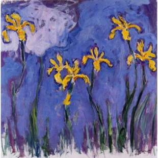 Schilderij Yellow Irises With Pink Cloud foto 1