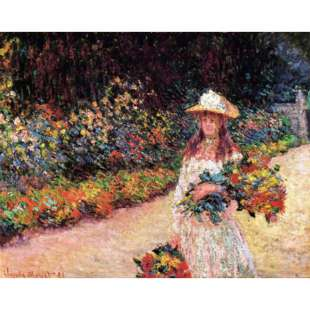 Schilderij Young Girl In The Garden At Giverny foto 1