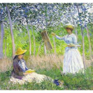Schilderij Suzanne Reading And Blanche Painting By The Marsh At Giverny foto 1