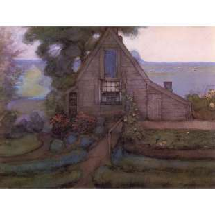 Schilderijen Triangulated Farmhouse Facade with Polder in Blue foto 1