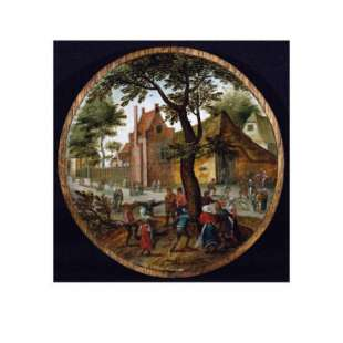 Schilderij Peasants Dancing Round a Tree in a Village Street foto 1