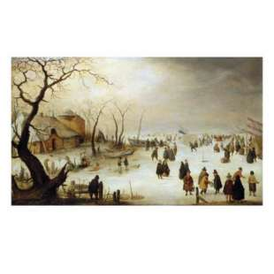 Schilderij A Winter River Landscape with Figures on the Ice foto 1