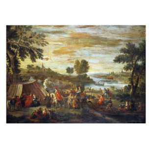 Schilderij A River Landscape with Festivities and Numerous Figures foto 1