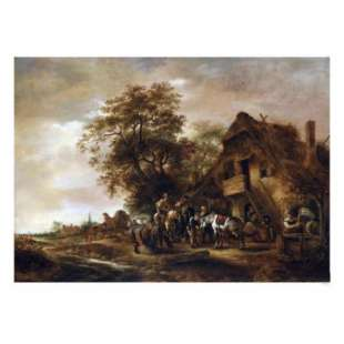 Schilderij Riders Refreshing Themselves with Other Figures and a Horse and Cart foto 1