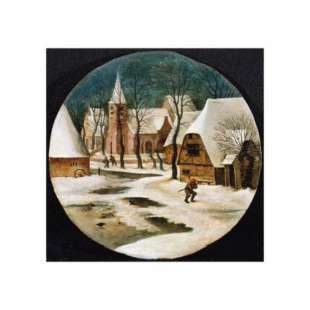 Schilderij A Village in Winter foto 1
