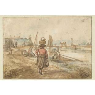 Schilderij Woman with Basket on the head Passing Through Streets foto 1